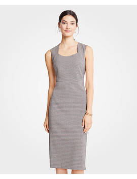 Petite Houndstooth Square Neck Sheath Dress by Ann Taylor