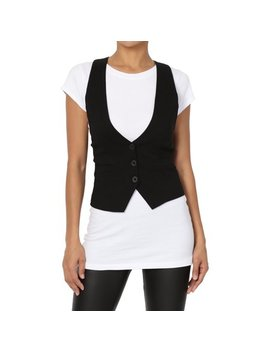The Mogan Women's S~3 X Dressy Casual Tuxedo Fully Lined Suit Vest Waistcoat by Walmart