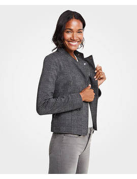 Petite Plaid Knit Moto Jacket by Ann Taylor