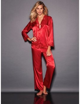 Nicole Satin And Lace Long Pj by Frederick's Of Hollywood