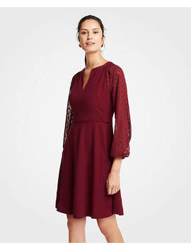 Petite Chiffon Dot Sleeve Flare Dress by Ann Taylor
