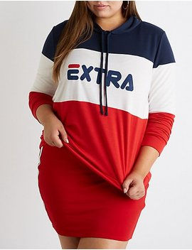 Plus Size Extra Colorblock Hoodie by Charlotte Russe
