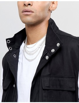 Asos Design Short Layered Neckchain Pack In Silver by Asos Design
