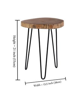"Intrade Global Acacia Wood Live Edge Stool With Hairpin Legs, Natural Edge End Table,Wood Accent Side Table, Nightstand, Plant Stand 21.5"" Tall (Set Of 2) by Luxe Collection"