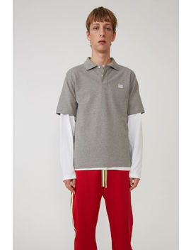 Polo Shirt Light Grey Melange / White by Acne Studios