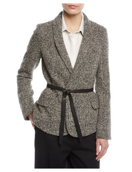Shawl Collar Herringbone Jacket W/ Wrap Belt by Loro Piana