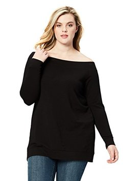 Daily Ritual Women's Plus Size Terry Cotton And Modal Cold Shoulder Tunic, by Daily+Ritual