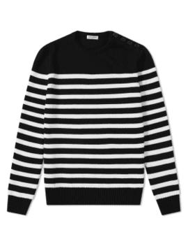 Saint Laurent Stripe Button Crew Knit by Saint Laurent