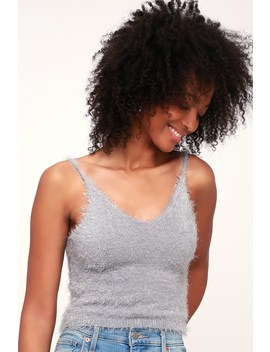 No Doubt Light Grey Eyelash Knit Crop Top by Lulus