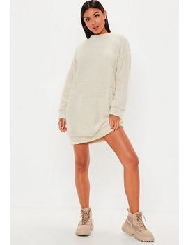 Cream Borg Crew Neck Sweat Dress by Missguided