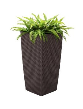 Best Choice Products Self Watering Wicker Planter W/ Water Level Indicator, Rolling Wheels For Indoor, Outdoor   Brown by Best Choice Products