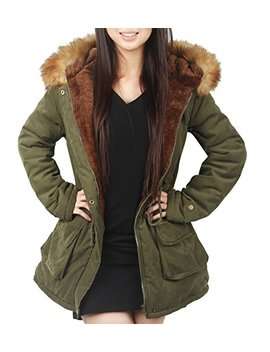 4 How Womens Parka Jacket Hooded Winter Coats Faux Fur Outdoor Coat by 4 How