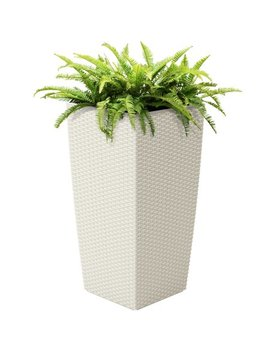 Best Choice Products Self Watering Wicker Planter W/ Water Level Indicator, Rolling Wheels For Indoor, Outdoor   White by Best Choice Products