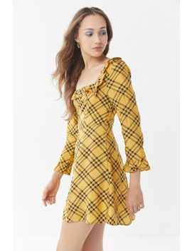 Uo Kristen Plaid Ruffle Square Neck Dress by Urban Outfitters