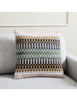 Embroidered Ikat Reflection Pillow Cover by West Elm