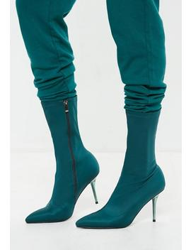 Turquoise Clear Heel Sock Boots by Missguided