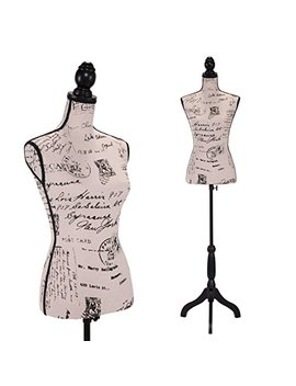 Jaxpety Female Mannequin Torso Clothing Display W/Black Tripod Stand New (Printing) by Jaxpety