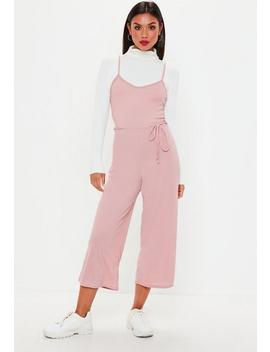 Petite Pink Rib Culotte Jumpsuit by Missguided