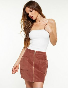 Corduroy Zip Up A Line Skirt by Charlotte Russe