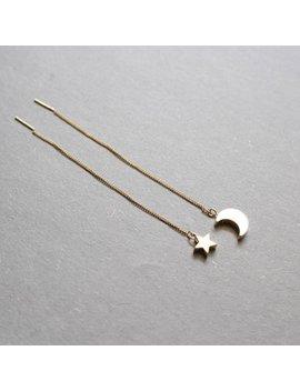 Star And Crescent Moon Threader Earrings , Geometric, Bridesmaid Gift, Everyday Earrings, Minimal, Simple Earrings by Etsy