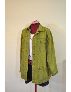 "Gold Large Denim Jacket   Yellow Gold Dyed Upcycled Cabin Creek Cotton Denim Barn Blazer Jacket   Adult Womens Size Large (48"" Chest) by Etsy"