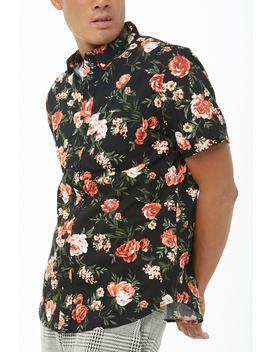 Fitted Rose Print Shirt by Forever 21