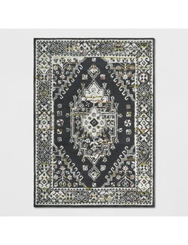 5'x7' Tufted Area Rug Persian Charcoal Heather   Threshold™ by Shop Collections