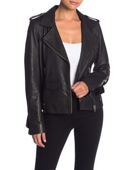Leather Moto Ruffle Jacket by Bagatelle