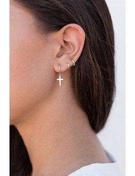 Cross Earrings, Cross Huggie Hoops, Cross Hoop Earrings, Hoop With Cross, Charm Hoop Earrings, Silver Hoop Earrings, Tiny Hoop Earrings by Etsy