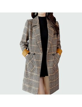 Winter Wool Coat Women Long 2018 New Big Pocket Double Breasted Slim Vintage Elegant Turndown Warm Winter Wool Overcoat by Ali Express