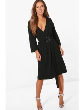 Petite D Ring Belted Wrap Dress by Boohoo