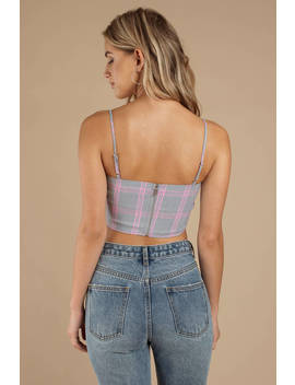 Tiger Mist Pearl Grey & Pink Plaid Crop Top by Tobi