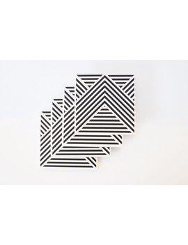 Black And White Modern Geometric Coasters [Stripe Pattern: Set Of 4] by Etsy