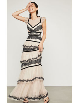 Embroidered Tiered Ruffle Gown by Bcbgmaxazria
