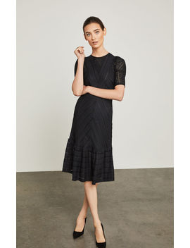 Lace Trimmed Striped Dress by Bcbgmaxazria