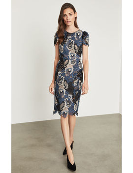 Tri Tonal Lace Sheath Dress by Bcbgmaxazria