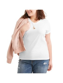 Women's Plus Size Short Sleeved V Neck Side Shirred T Shirt by Walmart