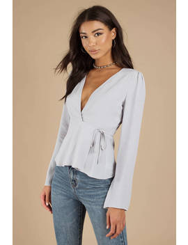 Night We Met Grey Wrap Blouse by Tobi