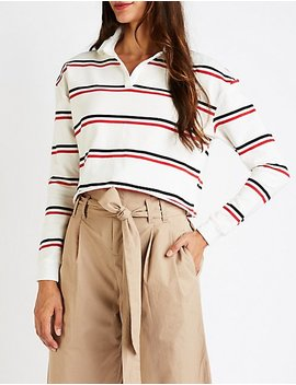 Striped Crop Polo by Charlotte Russe