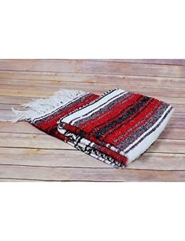 Mexican Blanket Black Red White Serape Throw Mexican Yoga Boho Falsa Blanket Xl by Ebay Seller