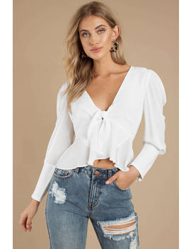 Party In The Hills White Ruffle Blouse by Tobi