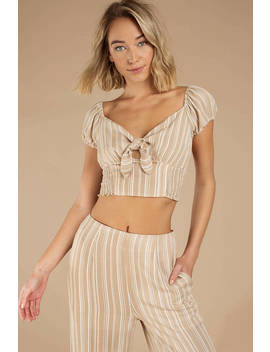 On Your Mind Beige Front Knot Top by Tobi