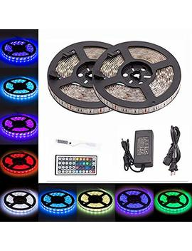 Ltrop 2 Reels 12 V 32.8ft Waterproof Flexible Rgb Led Strip Light Kit, Color Changing Smd5050 300 Le Ds, Led Strip Kit & Mini 44 Key Ir Controller + 12 V 5 A Power Supply, Adhesive Light Strips by Ltrop