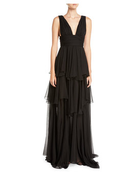 Paros Tiered Ruffle Maxi Dress by Caroline Constas