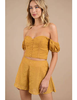Finders Keepers Maella Marigold Off Shoulder Crop Top by Tobi