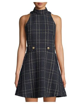 Belted Mock Neck Fit & Flare Dress by Neiman Marcus