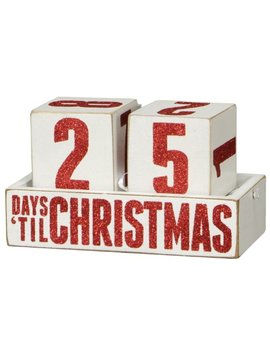 Primitives By Kathy Box Sign Days Til Christmas Countdown Blocks Wooden Calendar by Primitives By Kathy