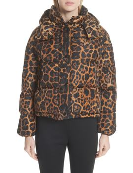 Caille Leopard Print Down Puffer Jacket by Moncler