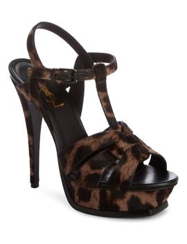 Tribute Genuine Calf Hair T Strap Platform Sandal by Saint Laurent