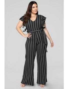 Every Song's About You Jumpsuit   Black/White by Fashion Nova